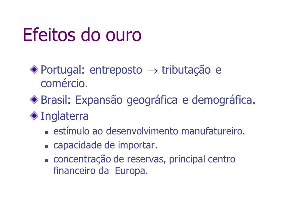 Efeitos do ouro Portugal: entreposto tributação e comércio. Brasil: Expansão geográfica e demográfica. Inglaterra estímulo ao desenvolvimento manufatu
