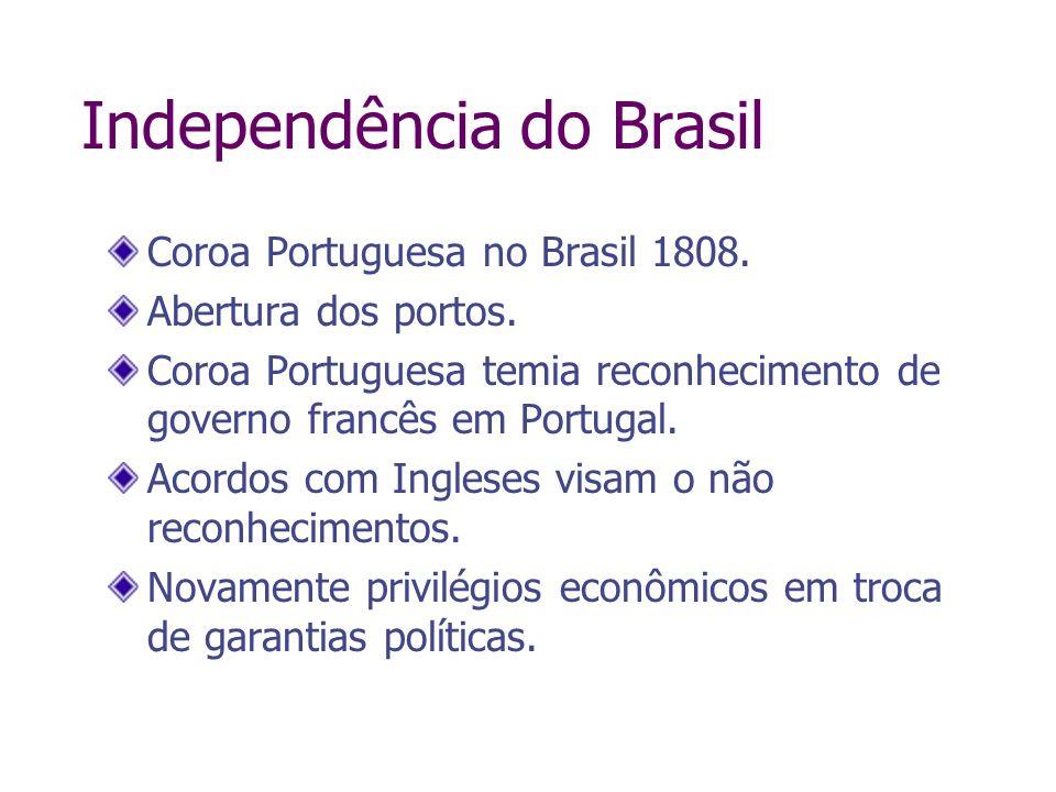 Independência do Brasil Coroa Portuguesa no Brasil 1808. Abertura dos portos. Coroa Portuguesa temia reconhecimento de governo francês em Portugal. Ac