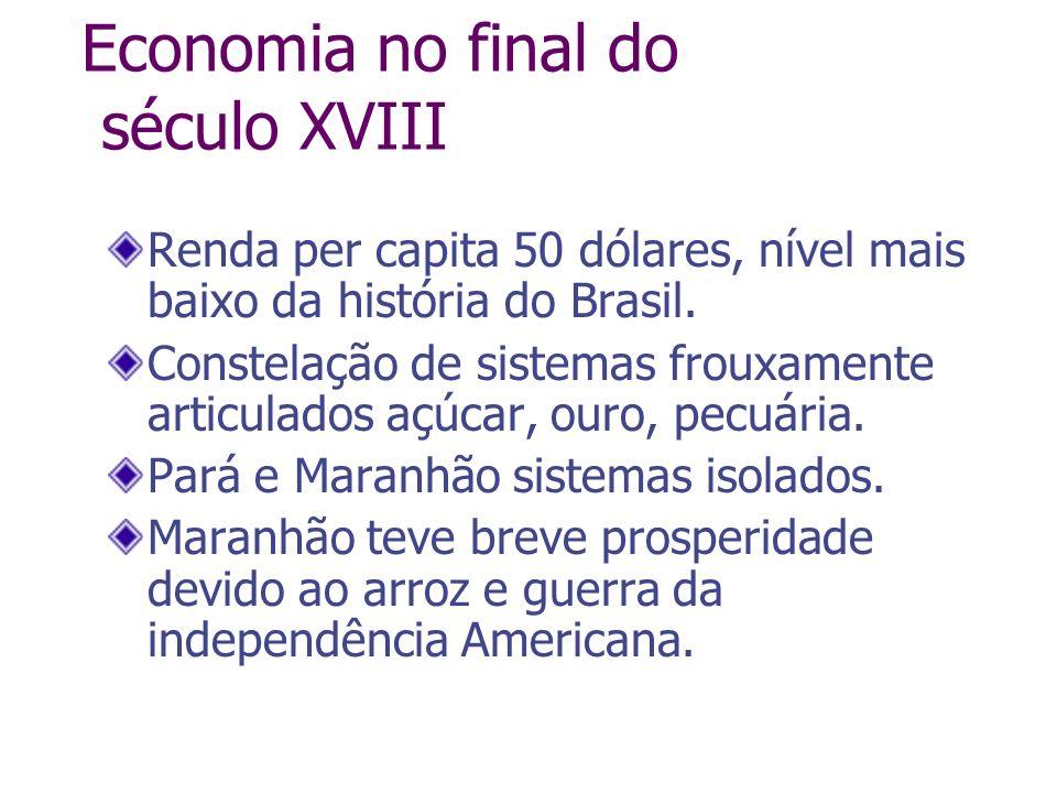 Economia no final do século XVIII Renda per capita 50 dólares, nível mais baixo da história do Brasil. Constelação de sistemas frouxamente articulados
