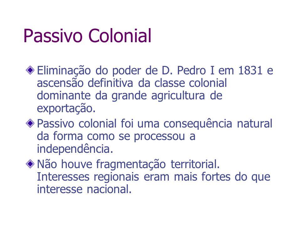 Passivo Colonial Eliminação do poder de D. Pedro I em 1831 e ascensão definitiva da classe colonial dominante da grande agricultura de exportação. Pas