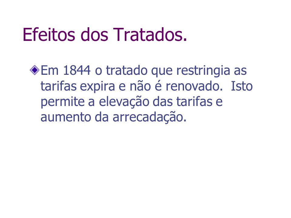 Efeitos dos Tratados. Em 1844 o tratado que restringia as tarifas expira e não é renovado. Isto permite a elevação das tarifas e aumento da arrecadaçã