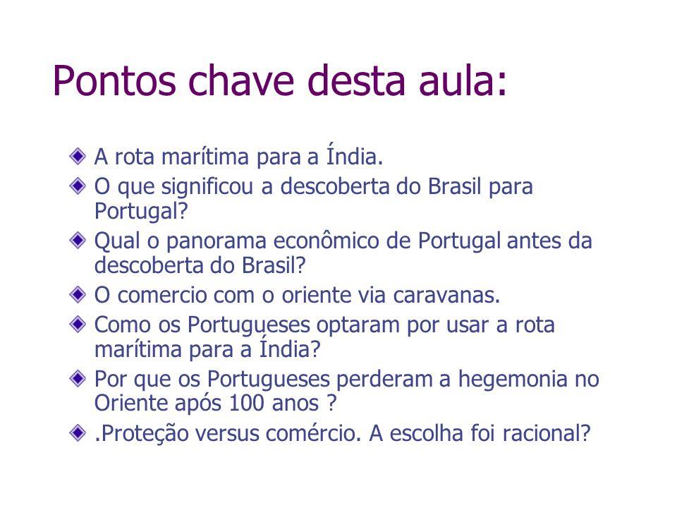 Pontos chave desta aula: A rota marítima para a Índia. O que significou a descoberta do Brasil para Portugal? Qual o panorama econômico de Portugal an