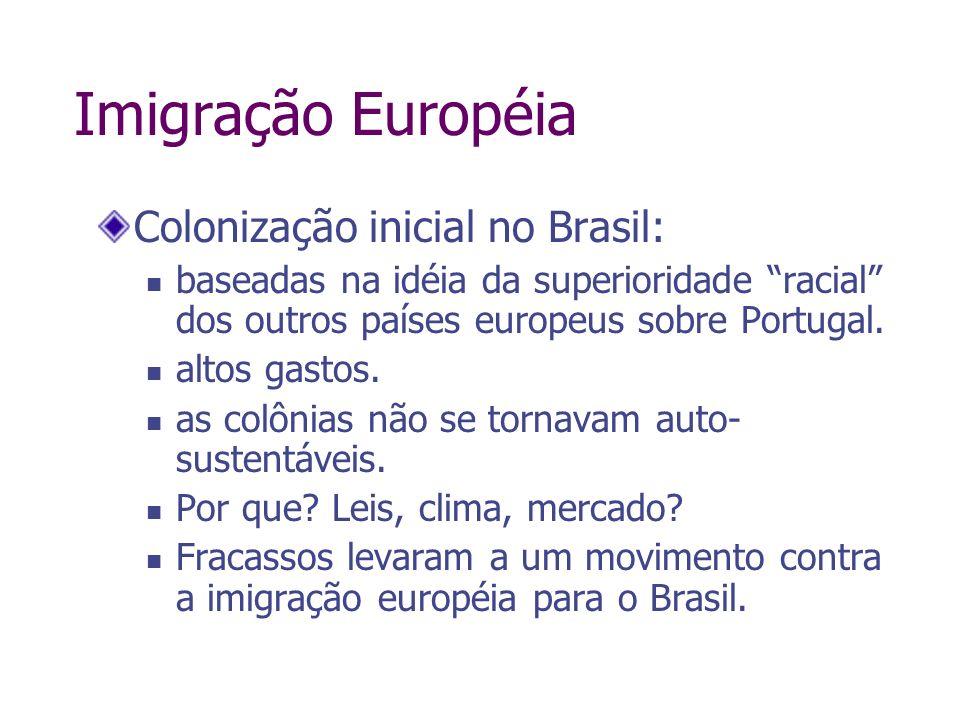 Imigração Européia Colonização inicial no Brasil: baseadas na idéia da superioridade racial dos outros países europeus sobre Portugal. altos gastos. a