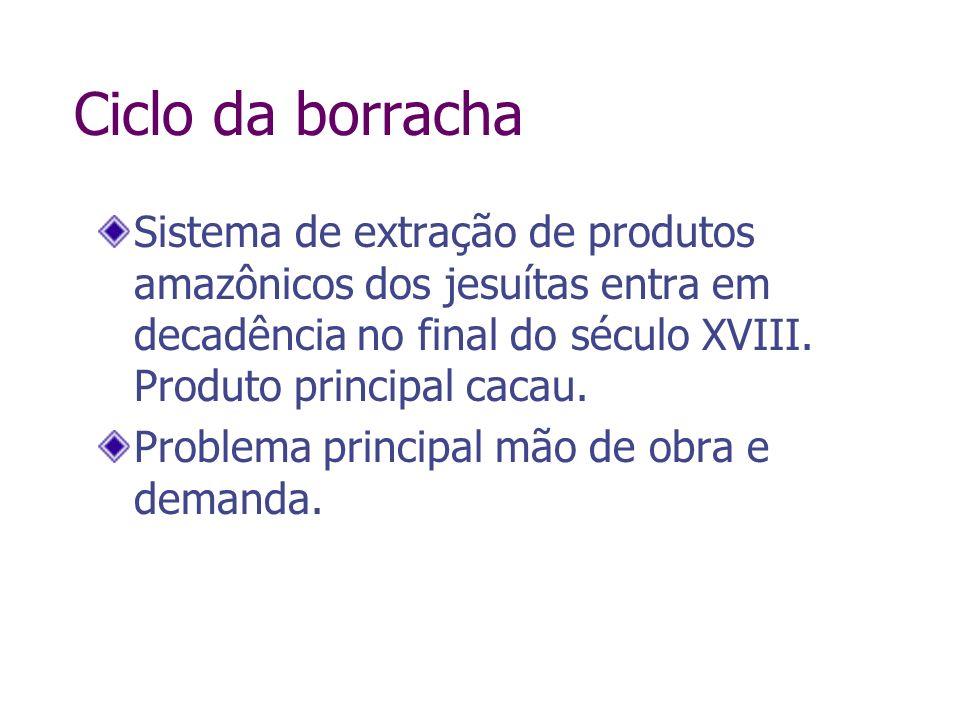 Ciclo da borracha Sistema de extração de produtos amazônicos dos jesuítas entra em decadência no final do século XVIII. Produto principal cacau. Probl