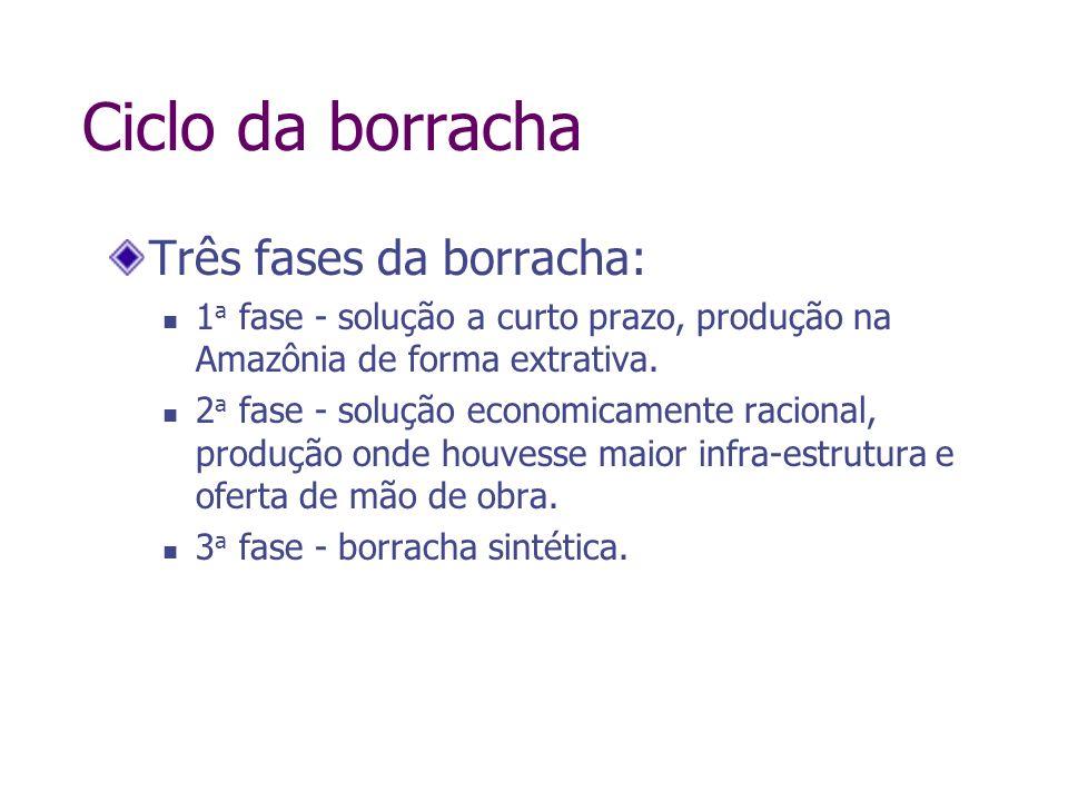 Ciclo da borracha Três fases da borracha: 1 a fase - solução a curto prazo, produção na Amazônia de forma extrativa. 2 a fase - solução economicamente