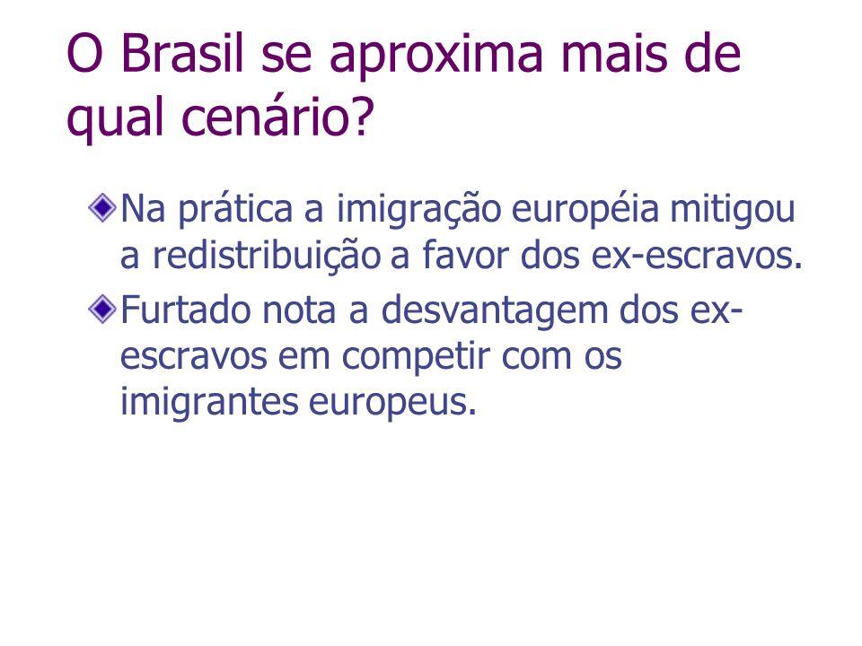 Na prática a imigração européia mitigou a redistribuição a favor dos ex-escravos. Furtado nota a desvantagem dos ex- escravos em competir com os imigr