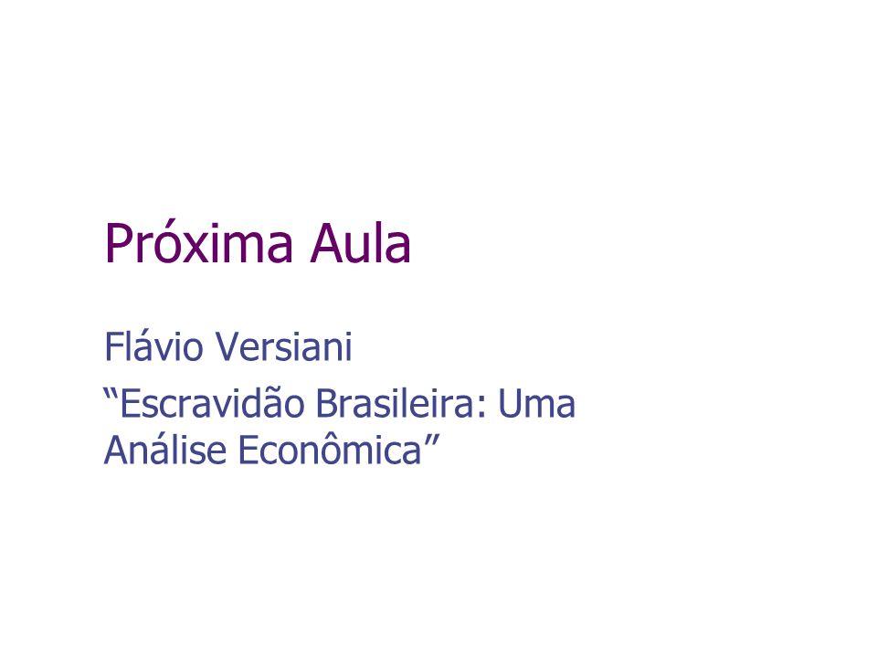 Próxima Aula Flávio Versiani Escravidão Brasileira: Uma Análise Econômica