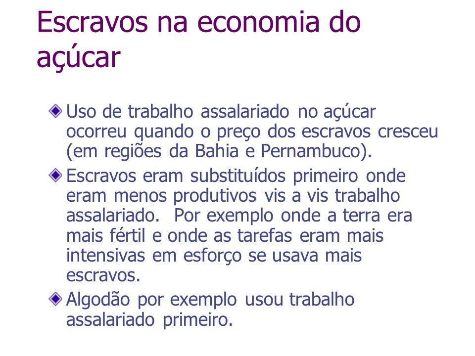 Escravos na economia do açúcar Uso de trabalho assalariado no açúcar ocorreu quando o preço dos escravos cresceu (em regiões da Bahia e Pernambuco). E