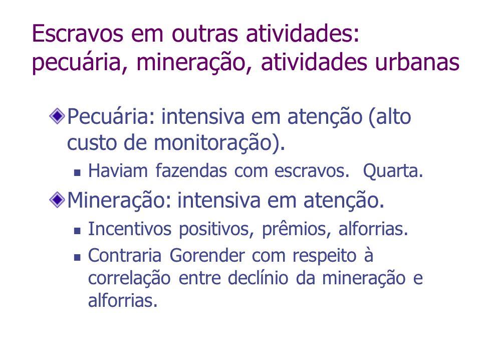 Escravos em outras atividades: pecuária, mineração, atividades urbanas Pecuária: intensiva em atenção (alto custo de monitoração). Haviam fazendas com