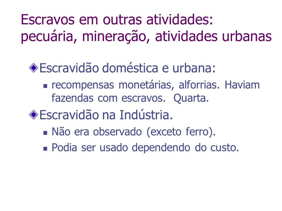 Escravos em outras atividades: pecuária, mineração, atividades urbanas Escravidão doméstica e urbana: recompensas monetárias, alforrias. Haviam fazend