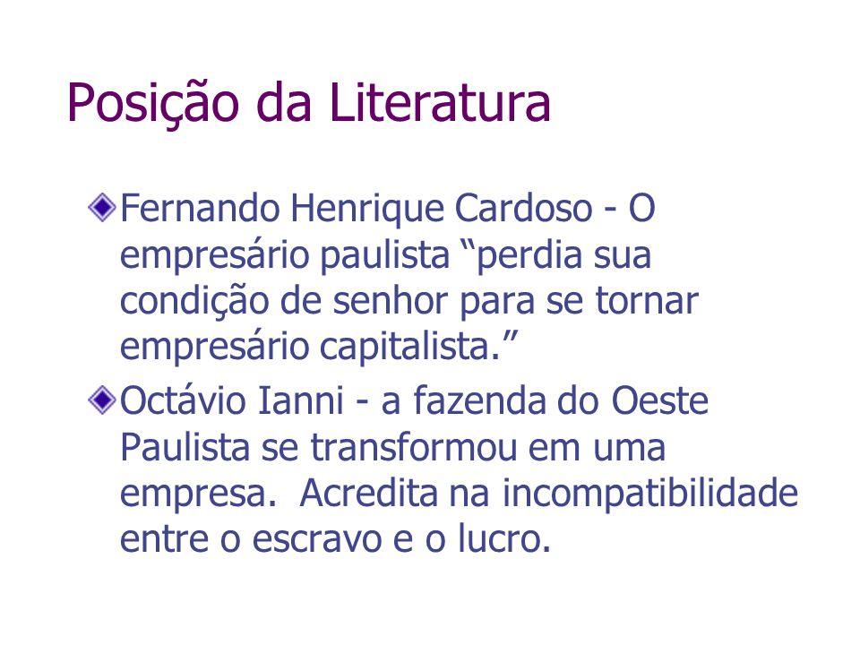 Posição da Literatura Fernando Henrique Cardoso - O empresário paulista perdia sua condição de senhor para se tornar empresário capitalista. Octávio I