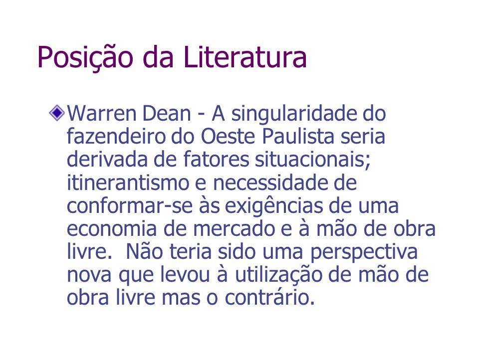 Posição da Literatura Warren Dean - A singularidade do fazendeiro do Oeste Paulista seria derivada de fatores situacionais; itinerantismo e necessidad