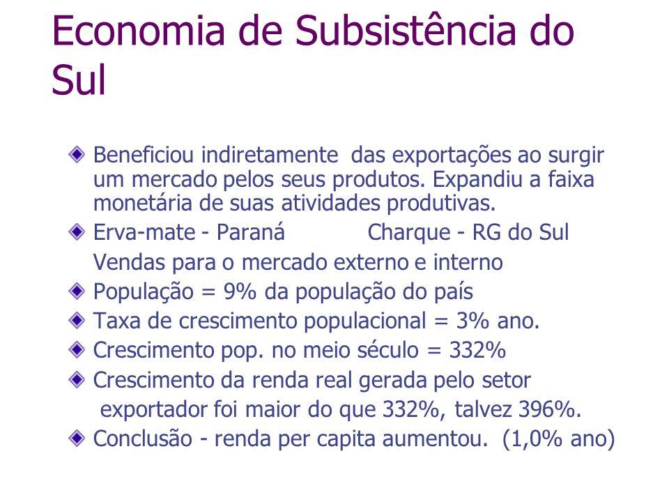 Economia de Subsistência do Sul Beneficiou indiretamente das exportações ao surgir um mercado pelos seus produtos. Expandiu a faixa monetária de suas