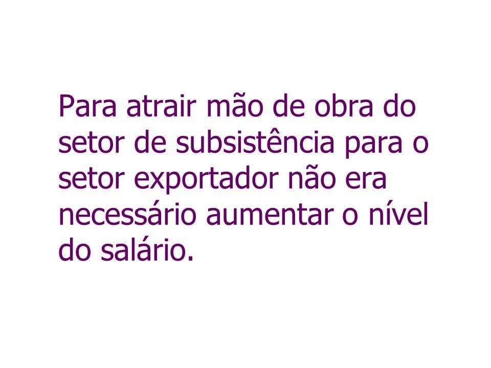 Para atrair mão de obra do setor de subsistência para o setor exportador não era necessário aumentar o nível do salário.