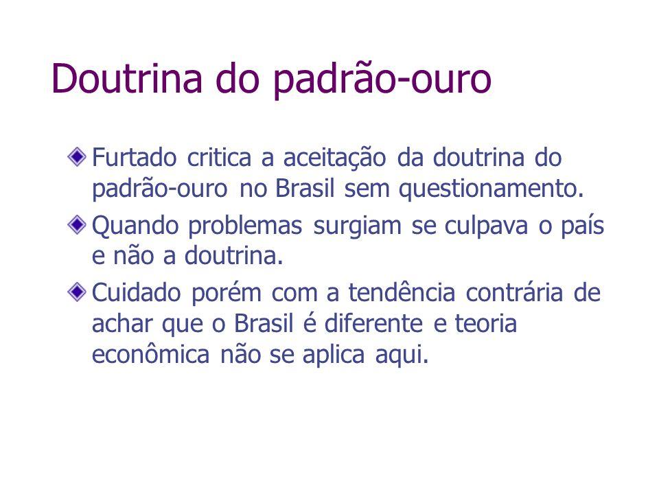 Doutrina do padrão-ouro Furtado critica a aceitação da doutrina do padrão-ouro no Brasil sem questionamento. Quando problemas surgiam se culpava o paí