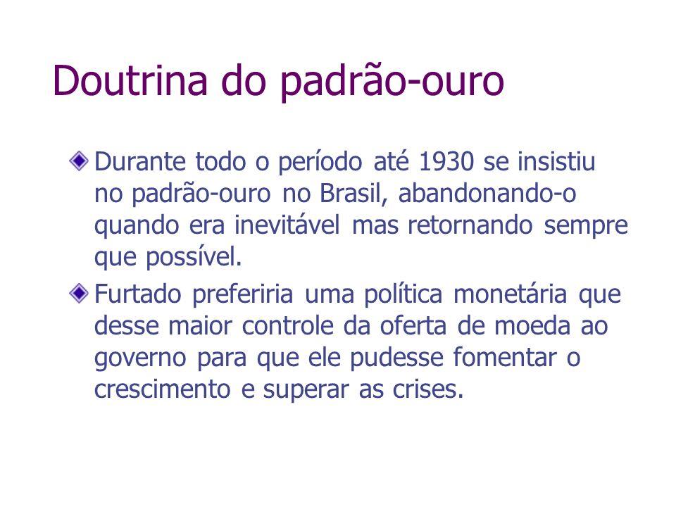 Doutrina do padrão-ouro Durante todo o período até 1930 se insistiu no padrão-ouro no Brasil, abandonando-o quando era inevitável mas retornando sempr