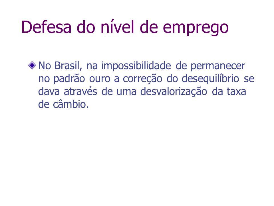 No Brasil, na impossibilidade de permanecer no padrão ouro a correção do desequilíbrio se dava através de uma desvalorização da taxa de câmbio. Defesa
