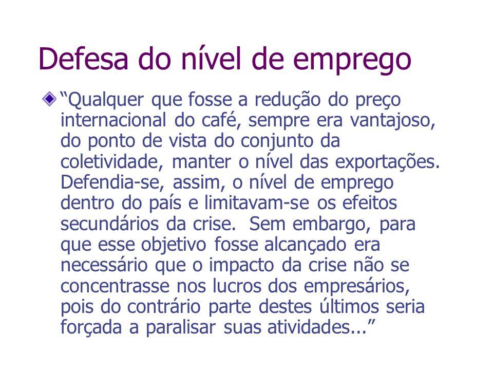 Defesa do nível de emprego Qualquer que fosse a redução do preço internacional do café, sempre era vantajoso, do ponto de vista do conjunto da coletiv