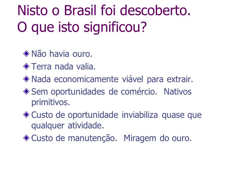 Nisto o Brasil foi descoberto. O que isto significou? Não havia ouro. Terra nada valia. Nada economicamente viável para extrair. Sem oportunidades de