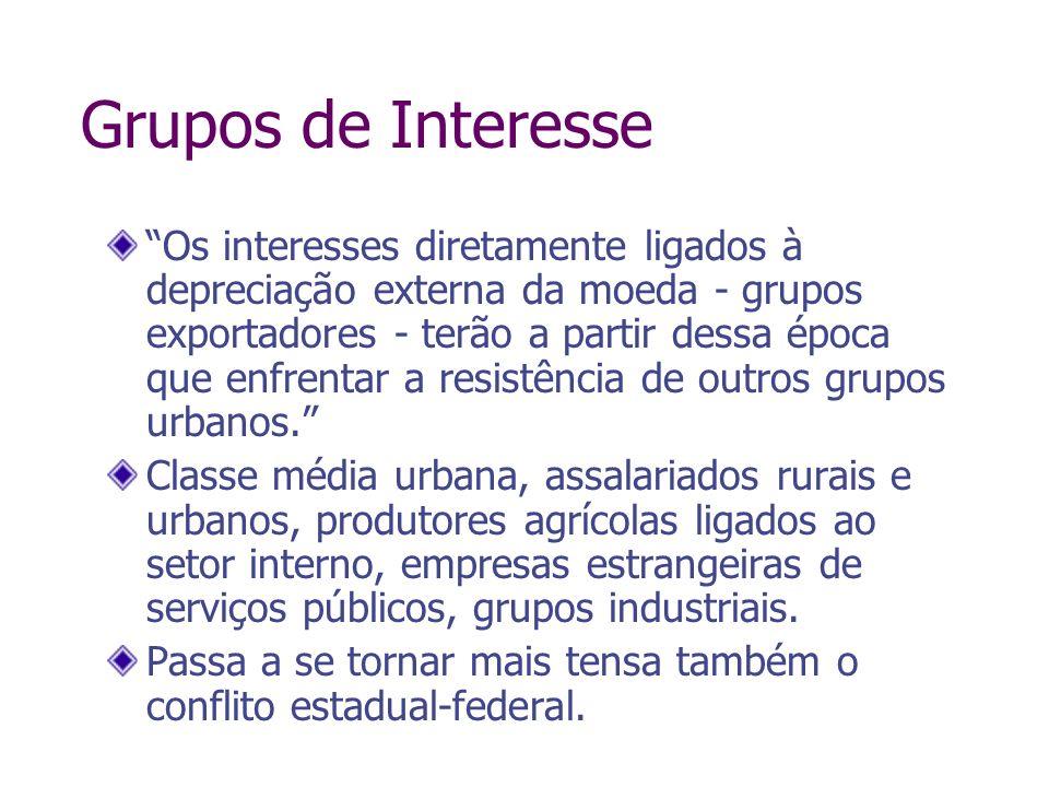 Grupos de Interesse Os interesses diretamente ligados à depreciação externa da moeda - grupos exportadores - terão a partir dessa época que enfrentar