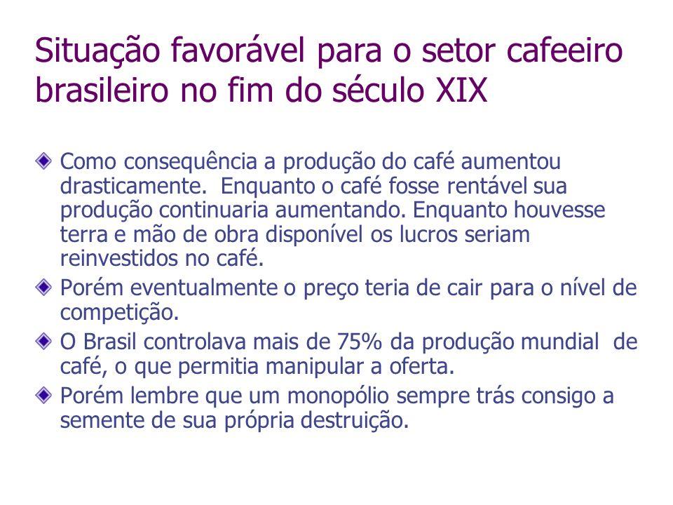 Situação favorável para o setor cafeeiro brasileiro no fim do século XIX Como consequência a produção do café aumentou drasticamente. Enquanto o café
