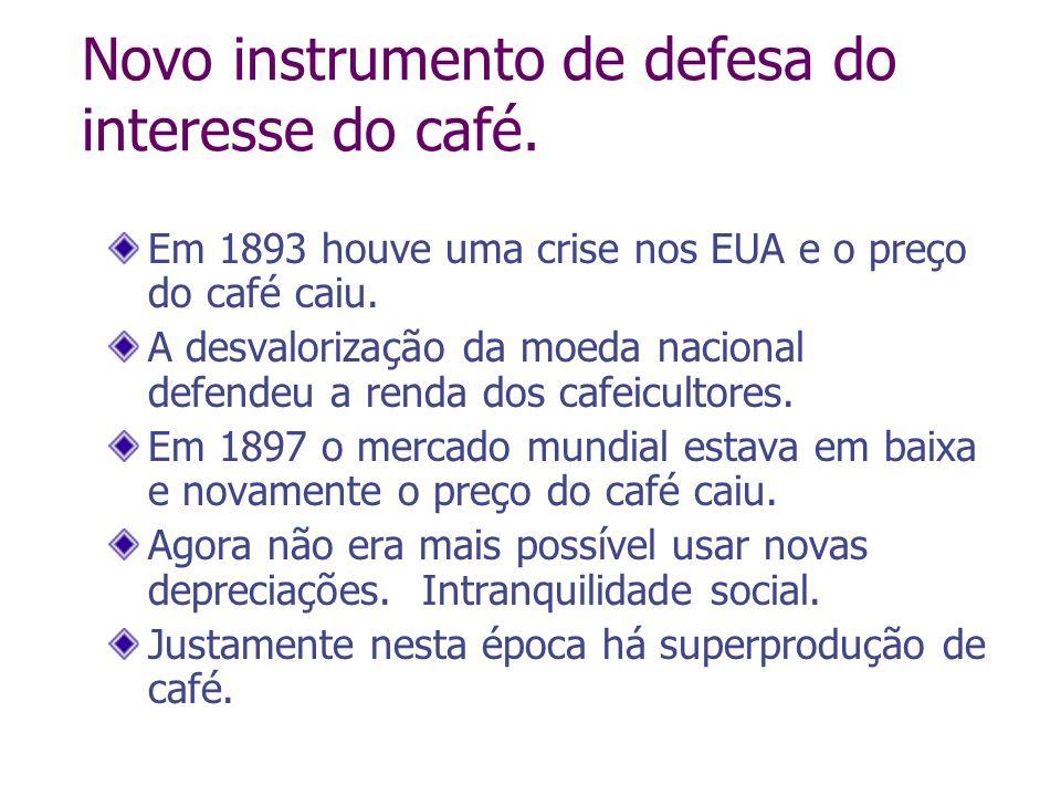Novo instrumento de defesa do interesse do café. Em 1893 houve uma crise nos EUA e o preço do café caiu. A desvalorização da moeda nacional defendeu a