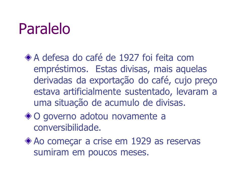 Paralelo A defesa do café de 1927 foi feita com empréstimos. Estas divisas, mais aquelas derivadas da exportação do café, cujo preço estava artificial