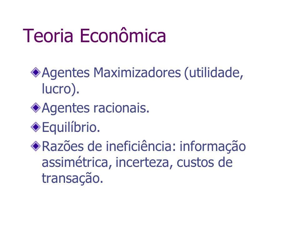 Teoria Econômica Agentes Maximizadores (utilidade, lucro). Agentes racionais. Equilíbrio. Razões de ineficiência: informação assimétrica, incerteza, c