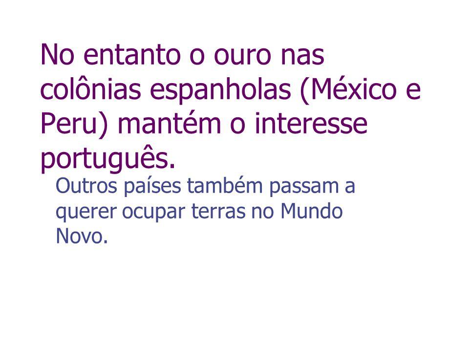 No entanto o ouro nas colônias espanholas (México e Peru) mantém o interesse português. Outros países também passam a querer ocupar terras no Mundo No