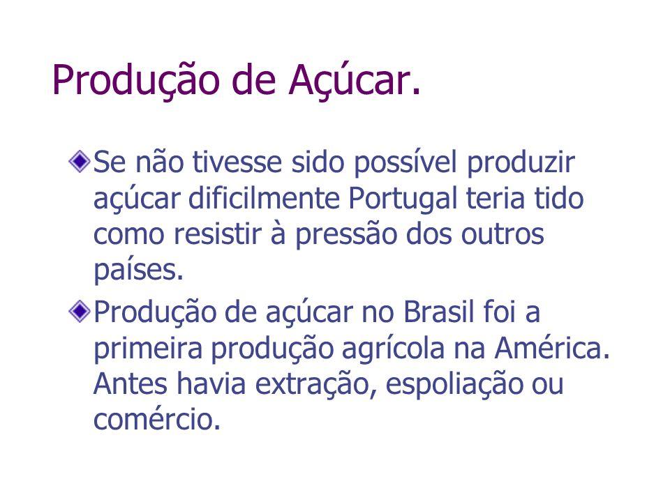 Produção de Açúcar. Se não tivesse sido possível produzir açúcar dificilmente Portugal teria tido como resistir à pressão dos outros países. Produção