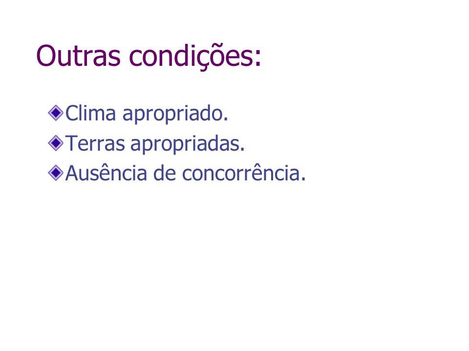 Outras condições: Clima apropriado. Terras apropriadas. Ausência de concorrência.