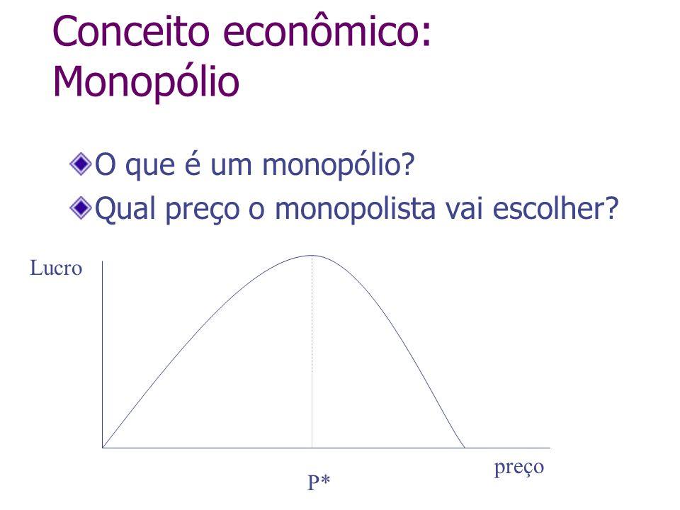 Conceito econômico: Monopólio O que é um monopólio? Qual preço o monopolista vai escolher? preço Lucro P*