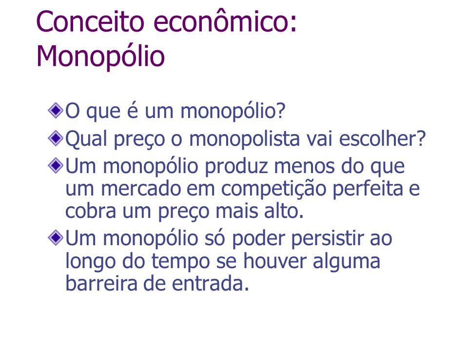 Conceito econômico: Monopólio O que é um monopólio? Qual preço o monopolista vai escolher? Um monopólio produz menos do que um mercado em competição p