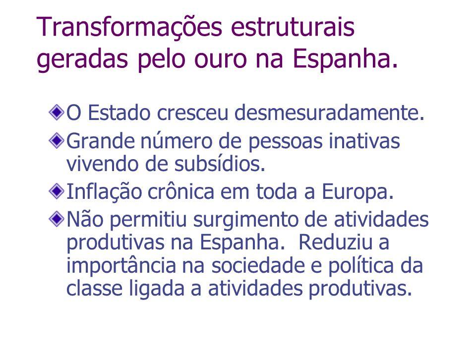 Transformações estruturais geradas pelo ouro na Espanha. O Estado cresceu desmesuradamente. Grande número de pessoas inativas vivendo de subsídios. In