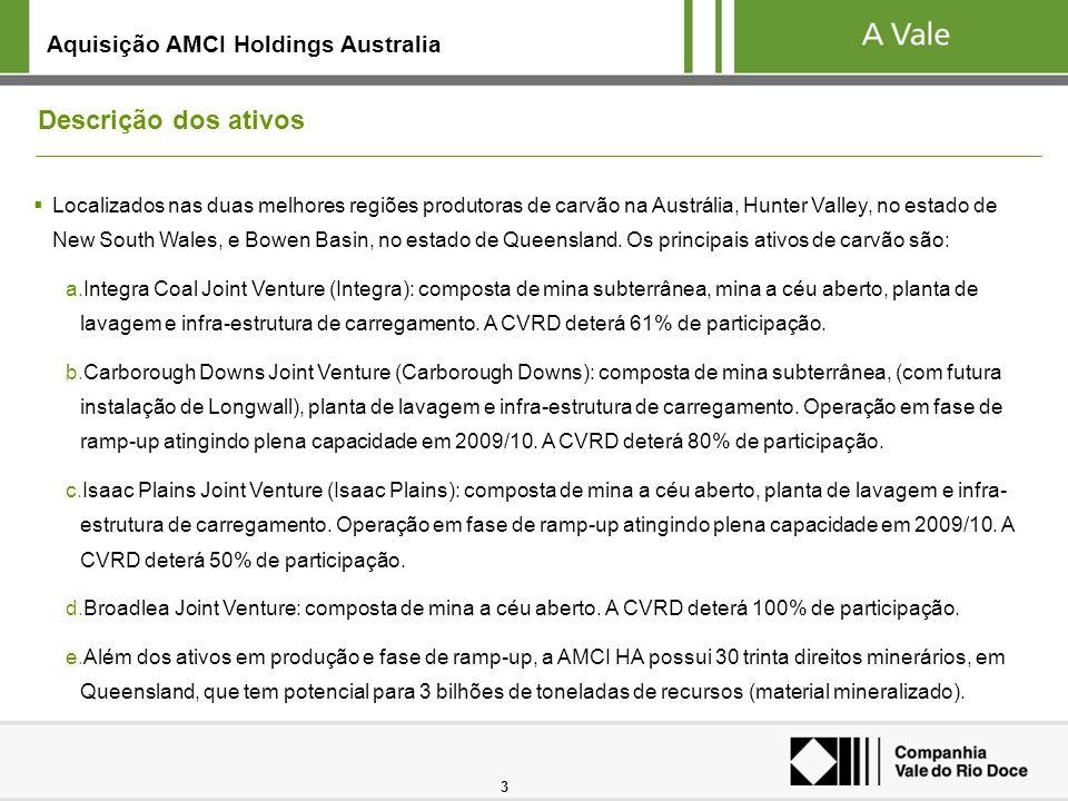 3 Descrição dos ativos Localizados nas duas melhores regiões produtoras de carvão na Austrália, Hunter Valley, no estado de New South Wales, e Bowen B