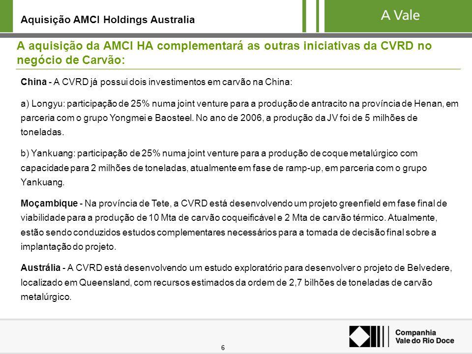 6 A aquisição da AMCI HA complementará as outras iniciativas da CVRD no negócio de Carvão: Aquisição AMCI Holdings Australia China - A CVRD já possui