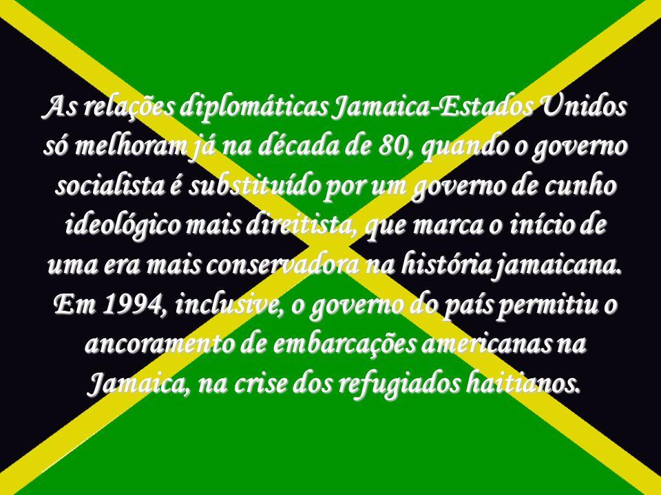 As relações diplomáticas Jamaica-Estados Unidos só melhoram já na década de 80, quando o governo socialista é substituído por um governo de cunho ideológico mais direitista, que marca o início de uma era mais conservadora na história jamaicana.