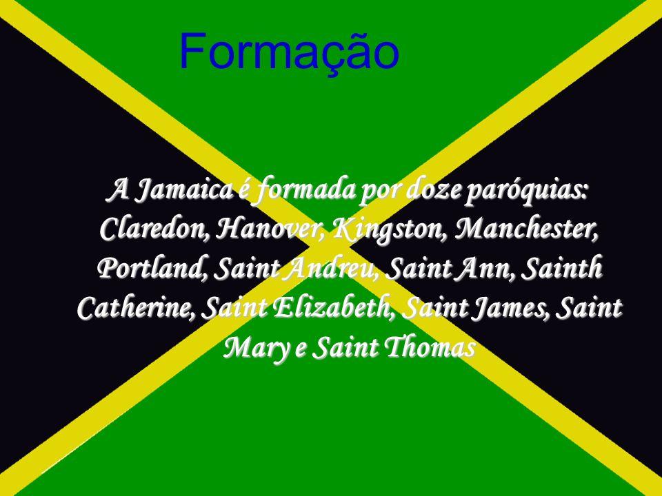 Formação A Jamaica é formada por doze paróquias: Claredon, Hanover, Kingston, Manchester, Portland, Saint Andreu, Saint Ann, Sainth Catherine, Saint Elizabeth, Saint James, Saint Mary e Saint Thomas
