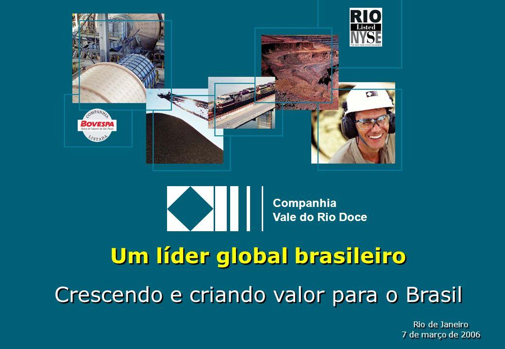 1 Companhia Vale do Rio Doce Rio de Janeiro 7 de março de 2006 Rio de Janeiro 7 de março de 2006 Um líder global brasileiro Crescendo e criando valor