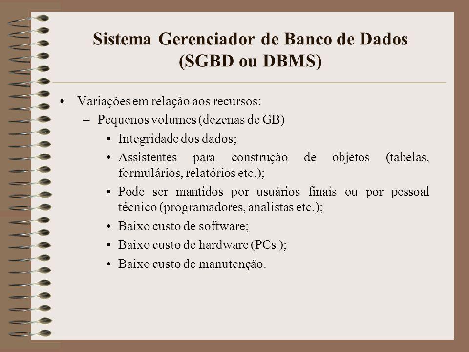 Sistema Gerenciador de Banco de Dados (SGBD ou DBMS) Variações em relação aos recursos: –Volumes médios (dezenas ou centenas de GB) Mecanismos mais eficientes para integridade dos dados (duplicidade de discos, back up mais freqüentes e formais etc.); Utilização de linguagens de programação para criação de tabelas, formulários, relatórios etc.