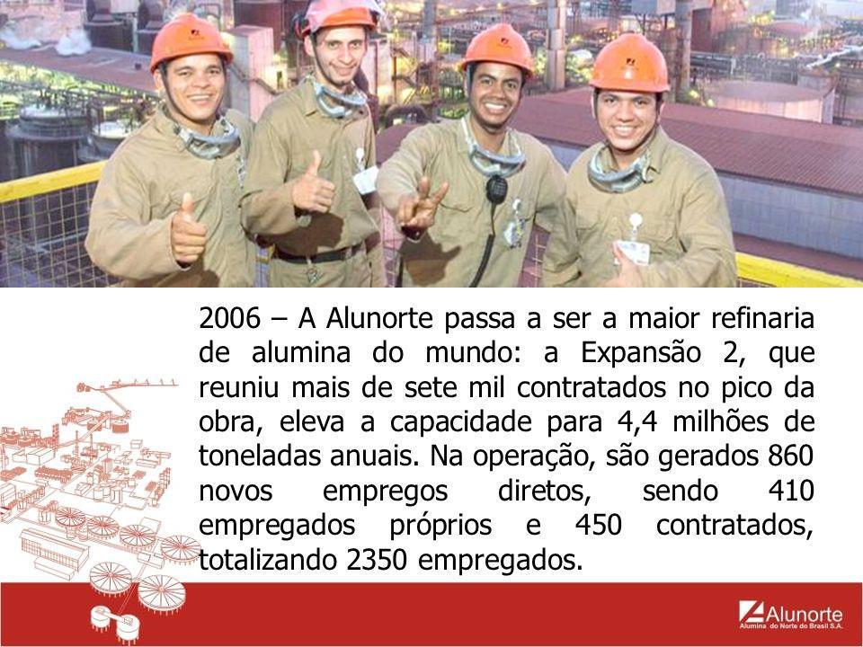 2006 – A Alunorte passa a ser a maior refinaria de alumina do mundo: a Expansão 2, que reuniu mais de sete mil contratados no pico da obra, eleva a ca
