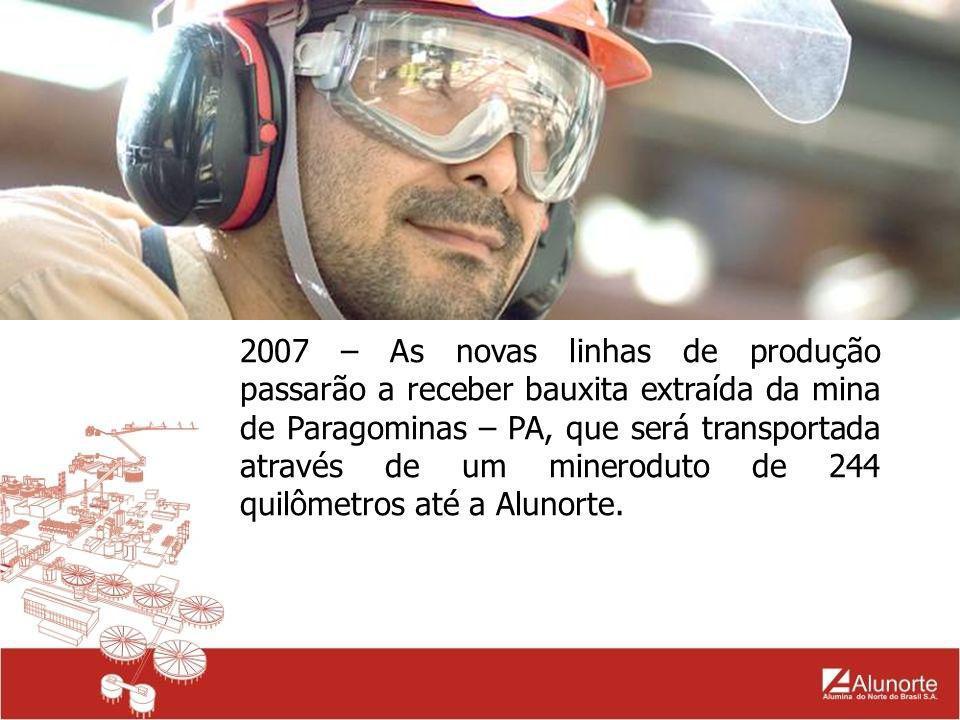 2007 – As novas linhas de produção passarão a receber bauxita extraída da mina de Paragominas – PA, que será transportada através de um mineroduto de