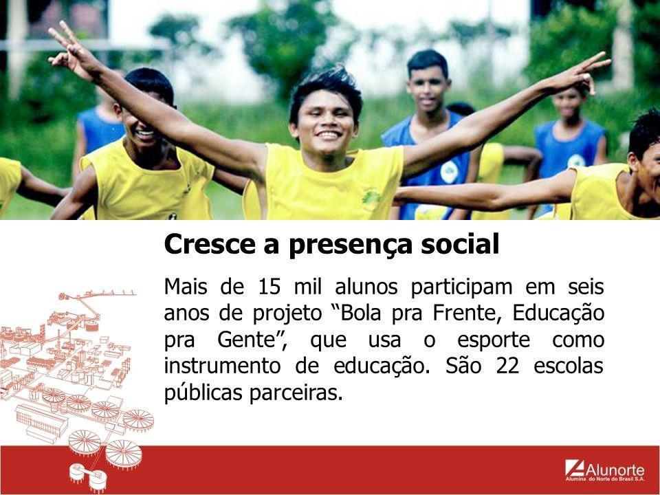 Cresce a presença social Mais de 15 mil alunos participam em seis anos de projeto Bola pra Frente, Educação pra Gente, que usa o esporte como instrume