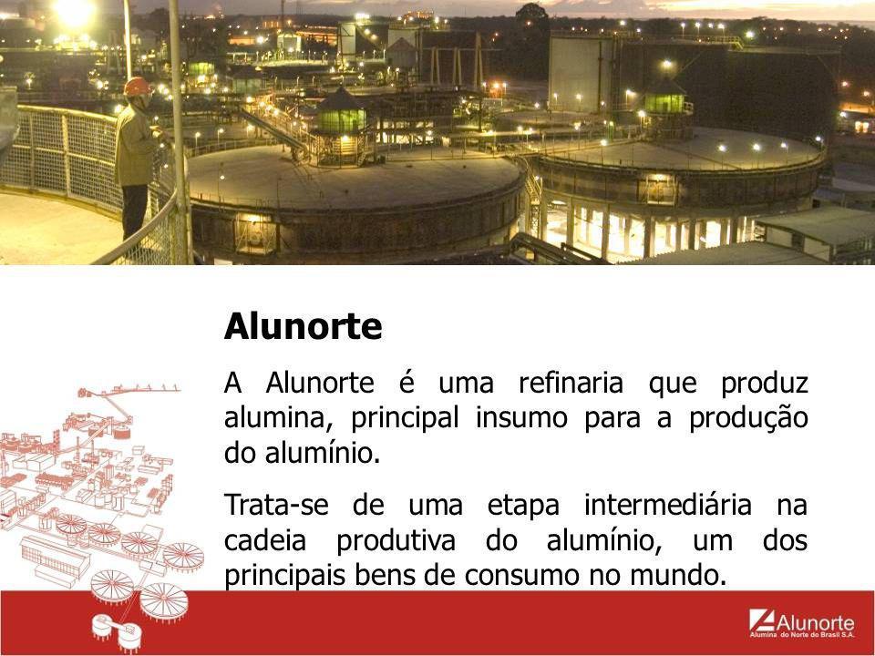 Alunorte A Alunorte é uma refinaria que produz alumina, principal insumo para a produção do alumínio. Trata-se de uma etapa intermediária na cadeia pr