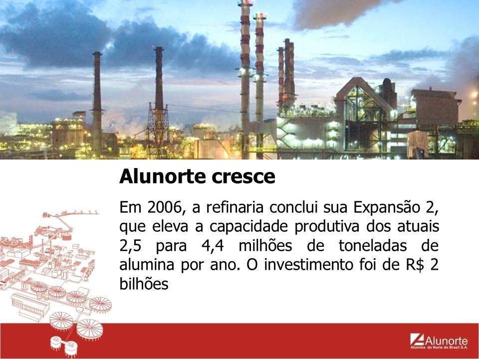 Alunorte cresce Em 2006, a refinaria conclui sua Expansão 2, que eleva a capacidade produtiva dos atuais 2,5 para 4,4 milhões de toneladas de alumina