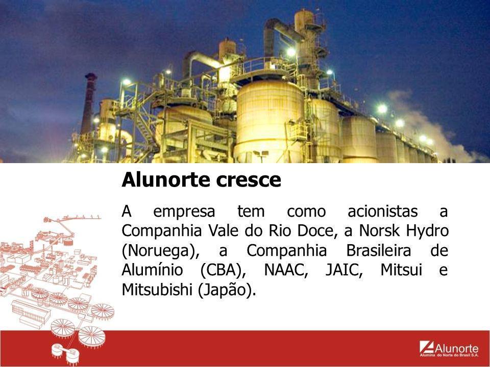 Alunorte cresce A empresa tem como acionistas a Companhia Vale do Rio Doce, a Norsk Hydro (Noruega), a Companhia Brasileira de Alumínio (CBA), NAAC, J