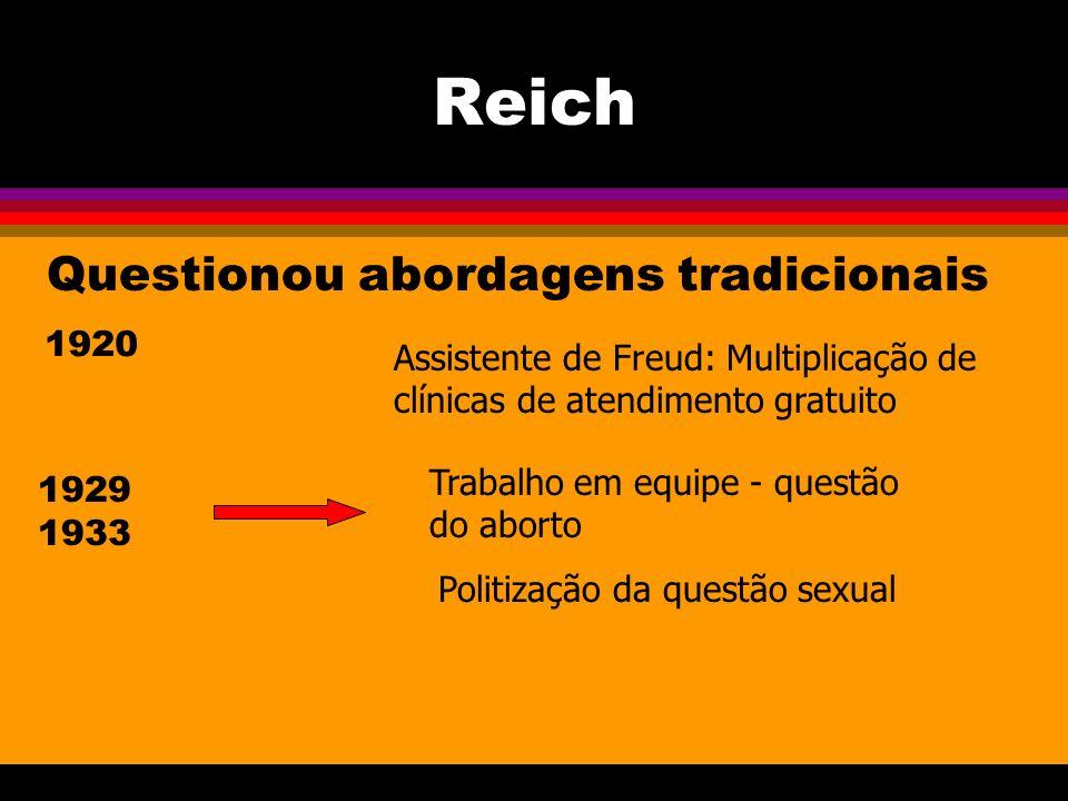 Reich Questionou abordagens tradicionais 1920 Assistente de Freud: Multiplicação de clínicas de atendimento gratuito 1929 1933 Trabalho em equipe - questão do aborto Politização da questão sexual