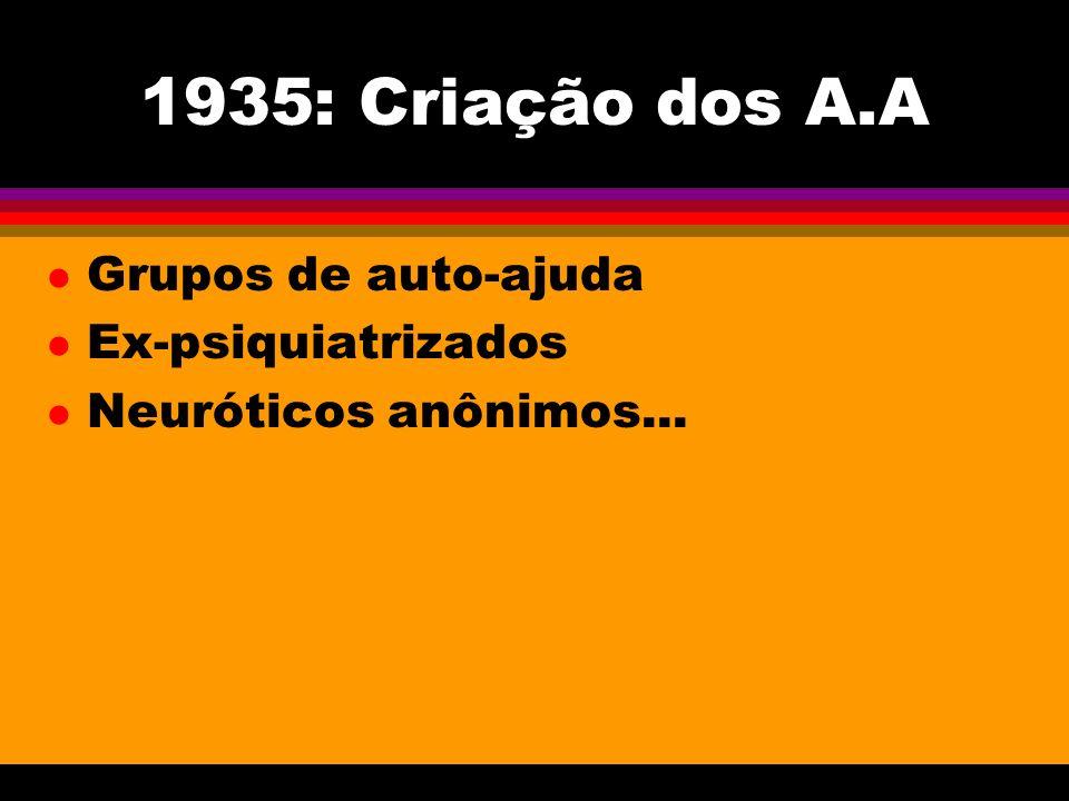 1935: Criação dos A.A l Grupos de auto-ajuda l Ex-psiquiatrizados l Neuróticos anônimos...