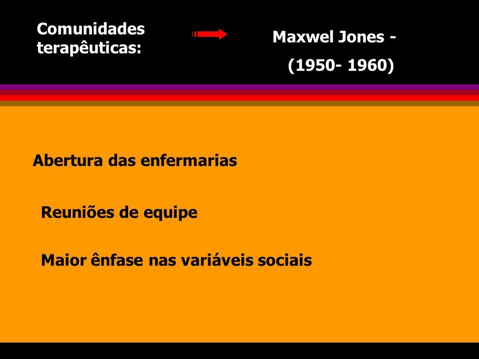 Comunidades terapêuticas: Maxwel Jones - (1950- 1960) Abertura das enfermarias Reuniões de equipe Maior ênfase nas variáveis sociais