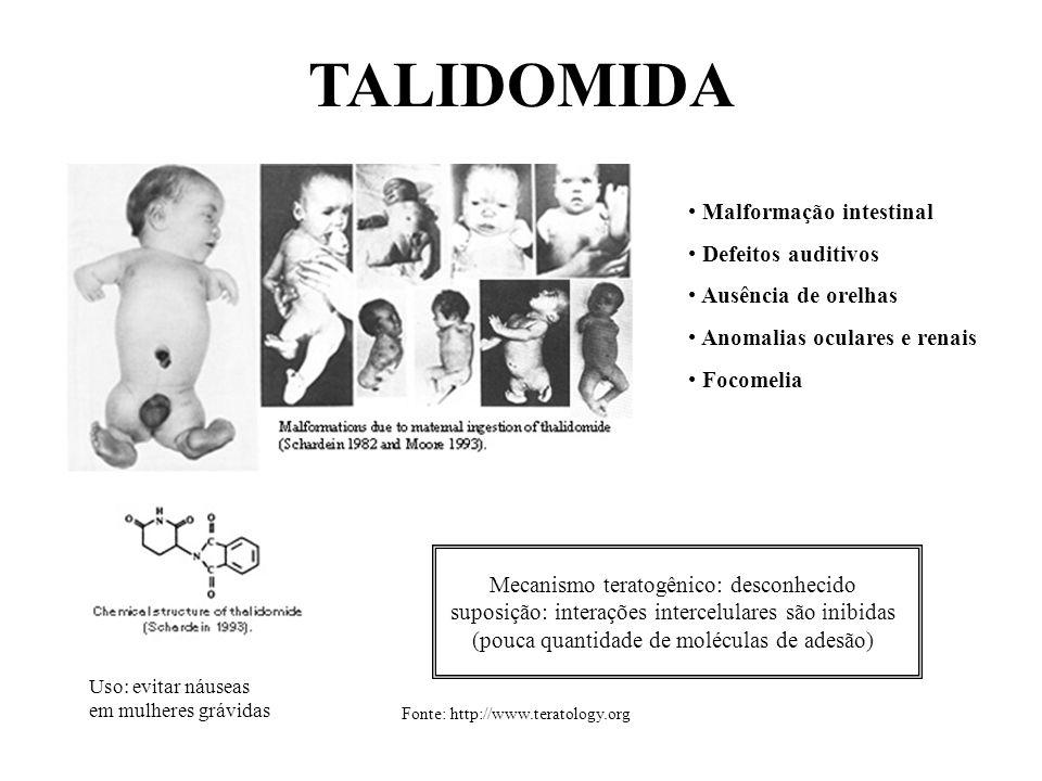 TALIDOMIDA Uso: evitar náuseas em mulheres grávidas Malformação intestinal Defeitos auditivos Ausência de orelhas Anomalias oculares e renais Focomeli